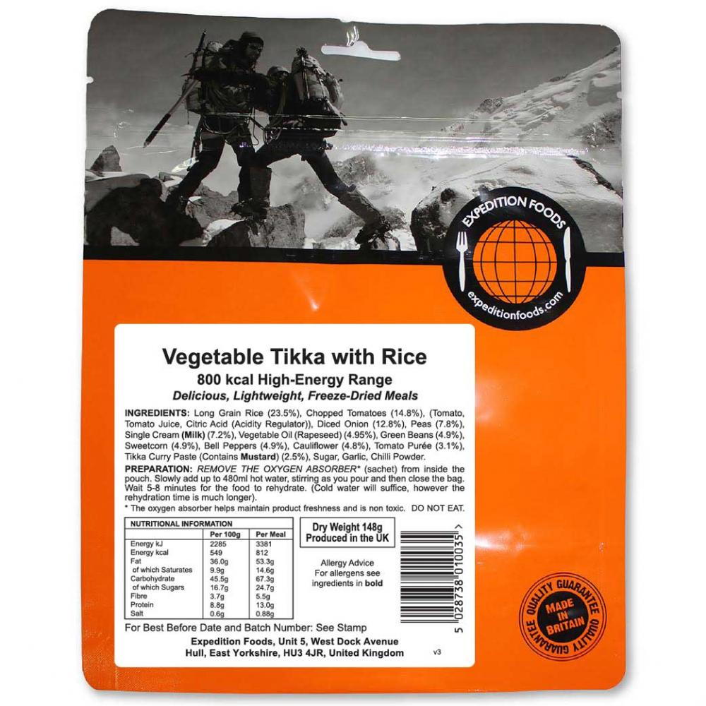 Expedition Foods Vegetable Tikka with Rice (800kcal)