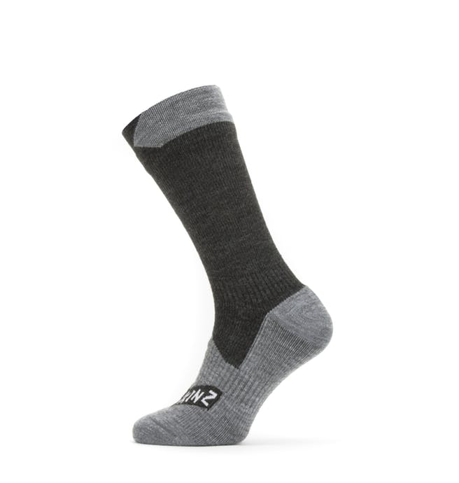 SealSkinz Waterproof All Weather Mid Length Sock Black Grey